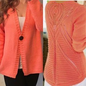 SOFT SURROUNDINGS Orange Boho Crochet Cardigan M